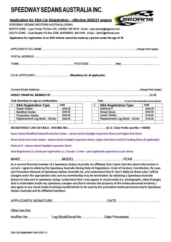 SSA Car Registration 20-21 Season