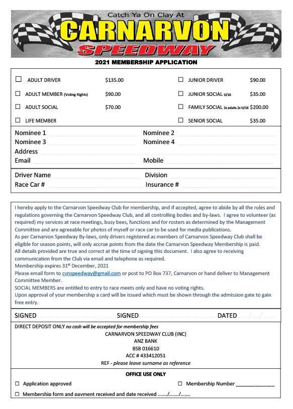 Carnarvon Speedway 2021 Membership Application